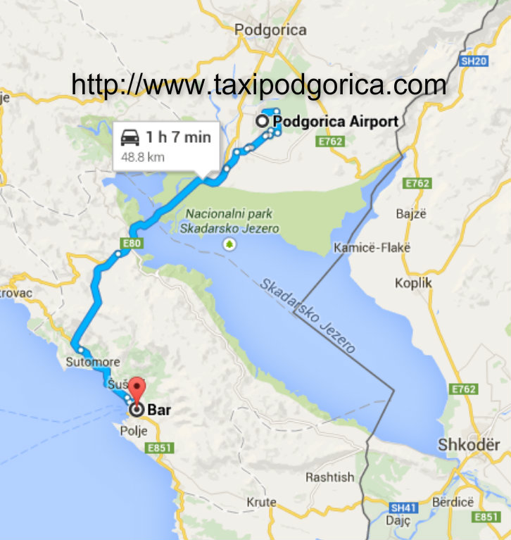 Taxi from Podgorica airport to Bar