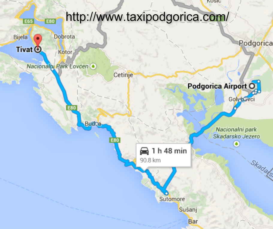 Taxi from Podgorica airport to Tivat