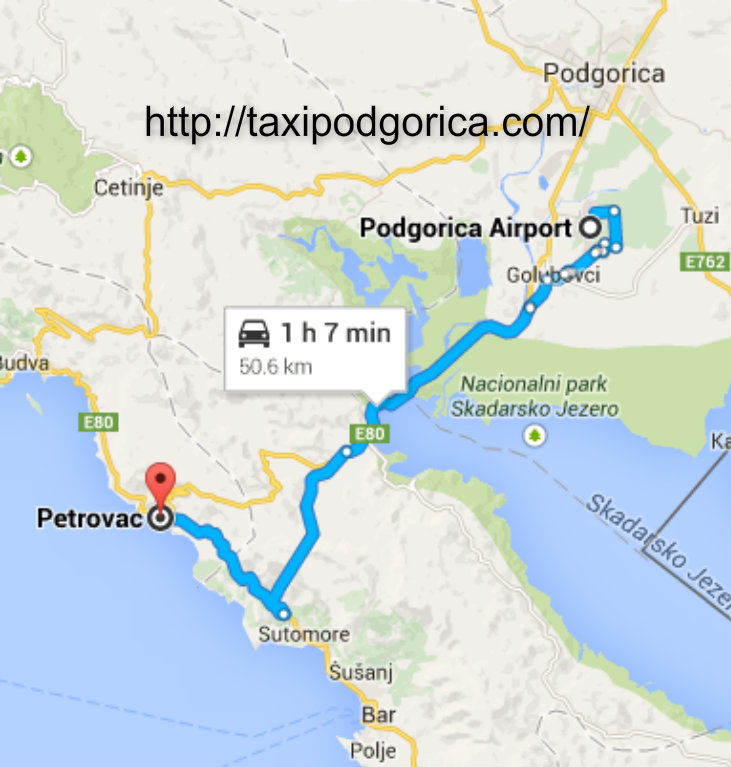 Transfer route Podgorica airport to Petrovac