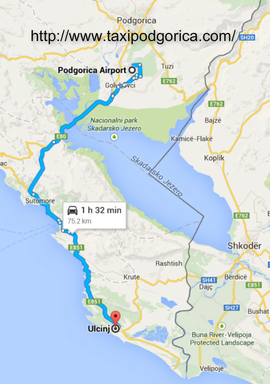 Transportation from Podgorica airport to Ulcinj